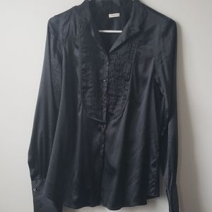 Black silk Bagutta button-up blouse